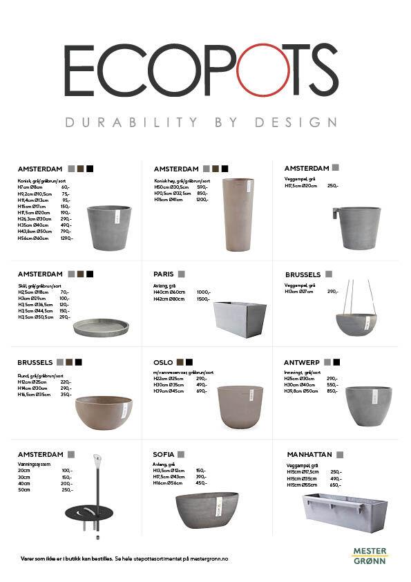 ecopots finnes i mange størrelser og varianter
