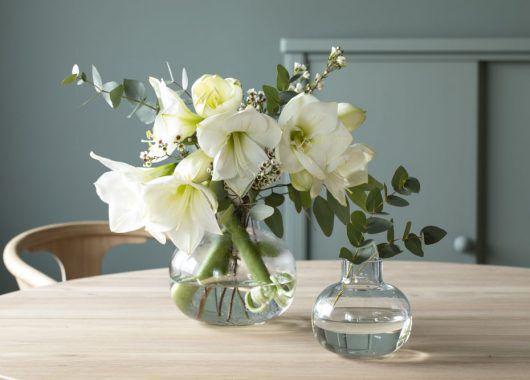 fyll vasen med amaryllis og eukalyptus