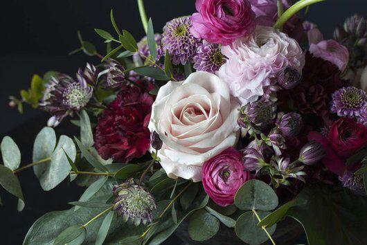 Blomster i rosa_lilla og burgunder