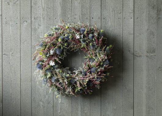 høstkrans med lilla calluna_calosephalus og eryngium