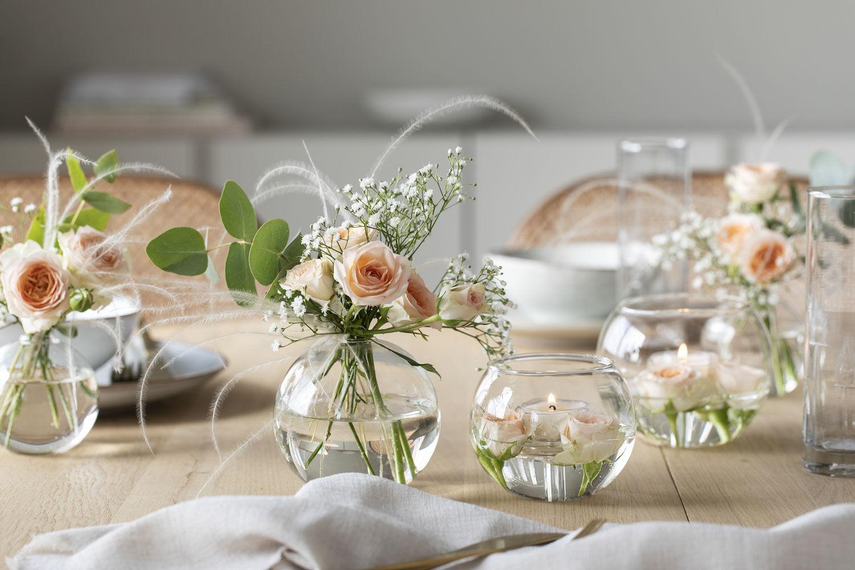 Bubble vase og telysestake