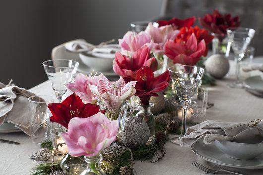 pynt bordet med amaryllis i små Dalebekken vaser