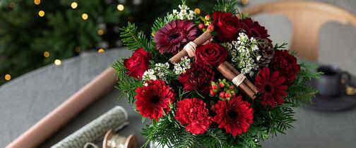 sende blomster til jul julebukett