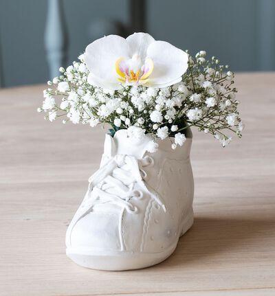 Hvit orkidè i babysko