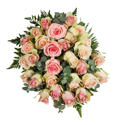 Miljøvennlig bårebukett med rosa roser L
