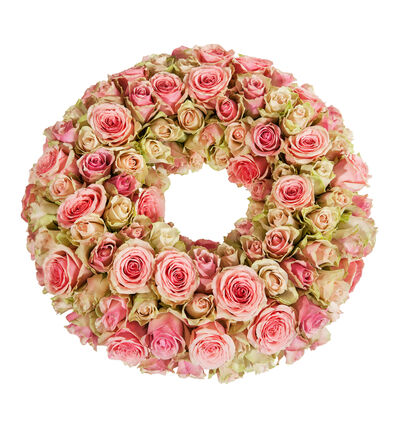 Krans med rosa roser S
