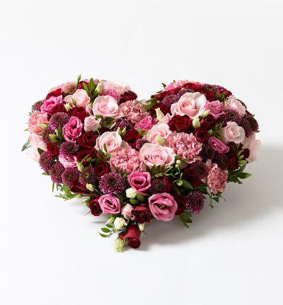 Hjerte i rosa og rødt