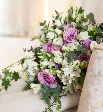 Bohemsk brudebukett i lilla