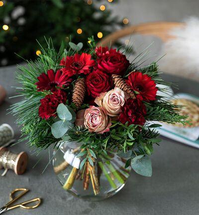 Rød julebukett
