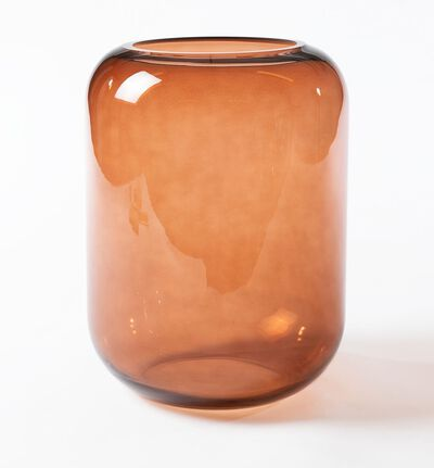 Glassvase Leaf brun M