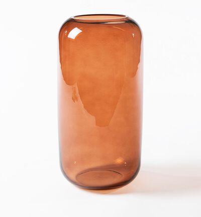 Glassvase Leaf brun L