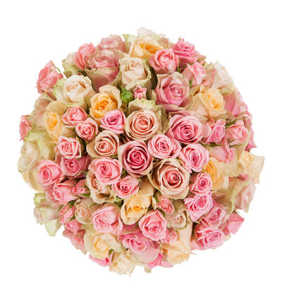 Klassisk brudebukett i fersken og rosa