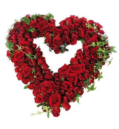 Åpent hjerte med røde roser M