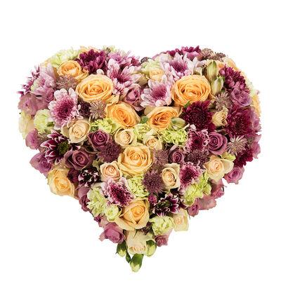Fylt hjerte i fersken og lilla nyanser S