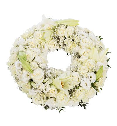 Krans i hvitt med liljer S