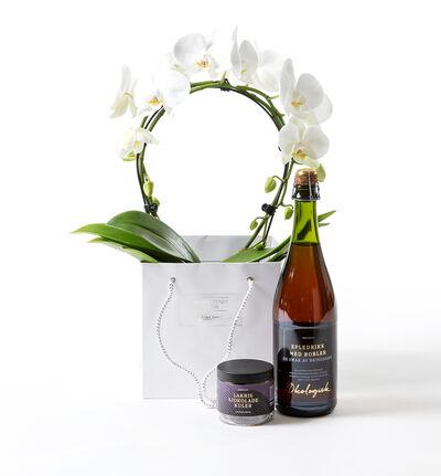 Hvit orkidé på bøyle gavepose med bobler