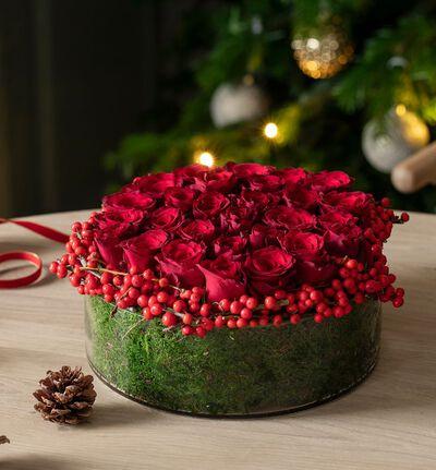 Rød rosedekorasjon jul L