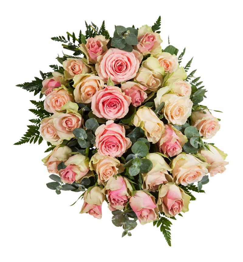 Miljøvennlig bårebukett med rosa roser L image number null