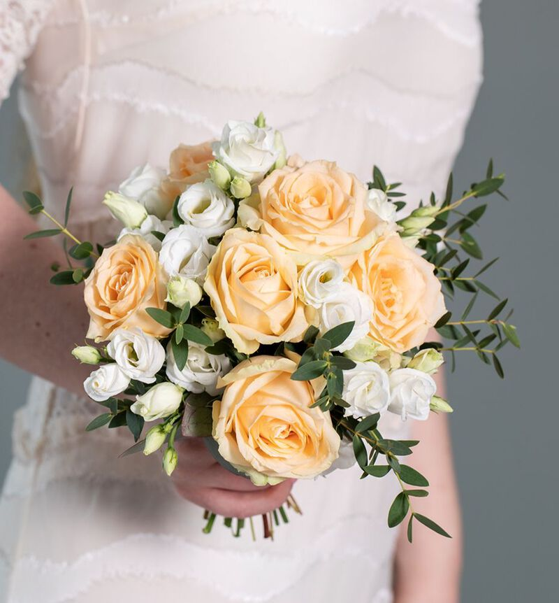 Brudepikebukett med fersken roser image number null