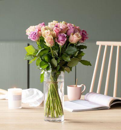 30 Fairtrade roser i rosa og lilla