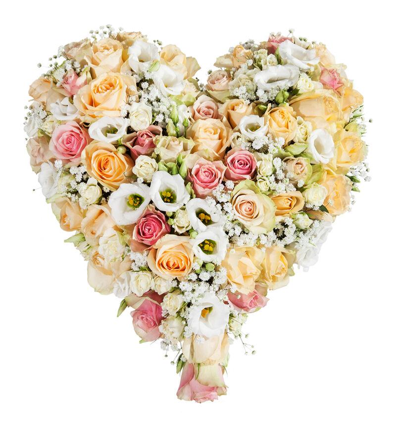 Fylt hjerte i fersken og hvitt S image number null