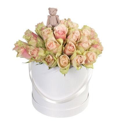 Rosa roser i gaveeske med bamse