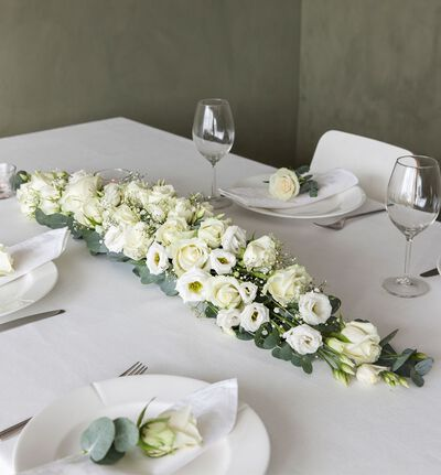 Hvit avlang borddekorasjon L