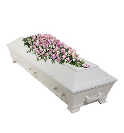 Kistedekorasjon i lilla og hvitt S