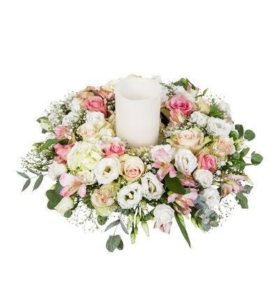Rosa og hvit bordkrans