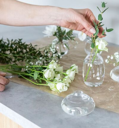 Misty glassvase klar mini rund