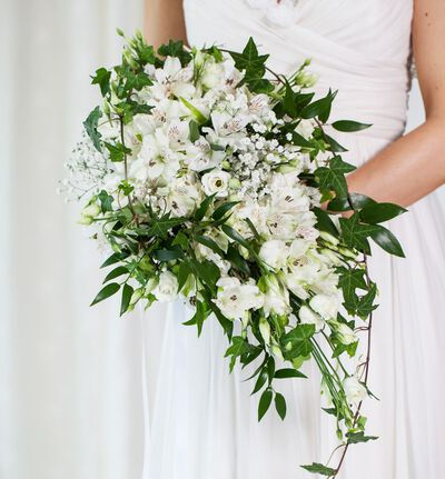 Bohemsk brudebukett i hvitt