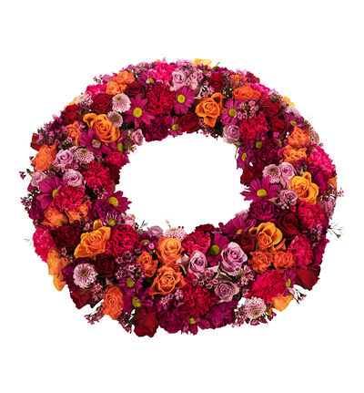 Krans i lilla, cerice rosa og oransje M