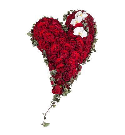 Fylt hjerte med røde roser M