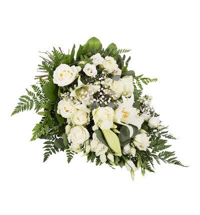 Bårebukett i hvitt med liljer L