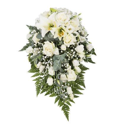 Båredekorasjon i hvitt med liljer XS