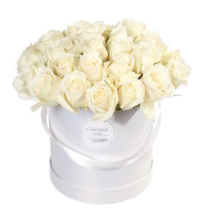 Hvite roser i gaveeske