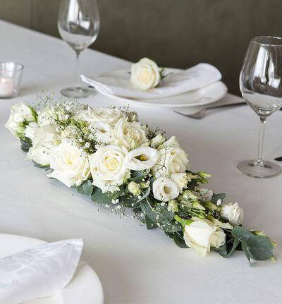 Hvit avlang borddekorasjon S