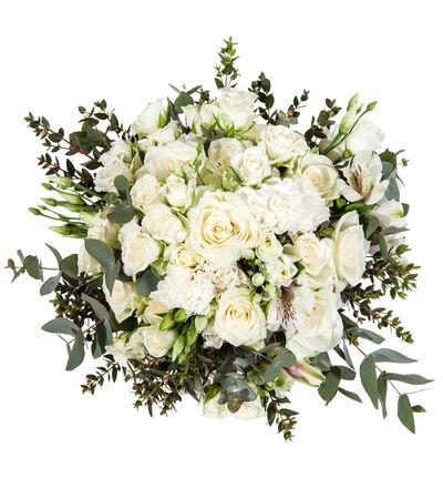 Romantisk brudebukett i hvitt