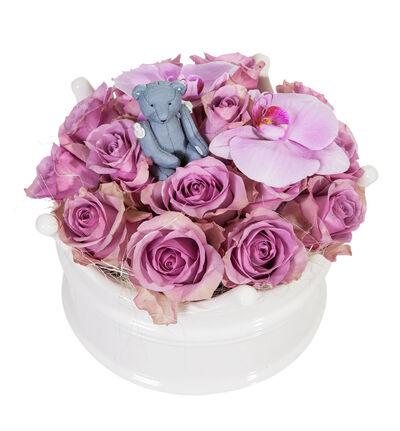 Lilla rosedekorasjon i krone