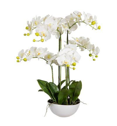 Kunstig hvit orkide XL
