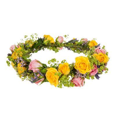 Rosa og gul blomsterkrans
