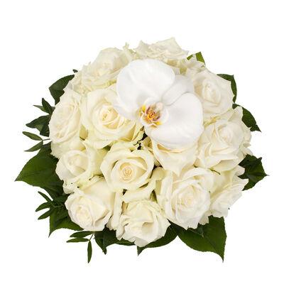 Hvit borddekorasjon med orkidé M