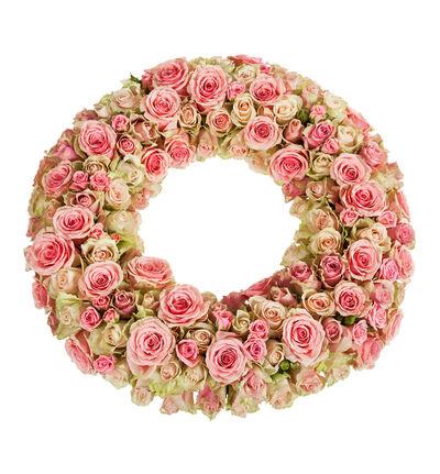 Krans med rosa roser M