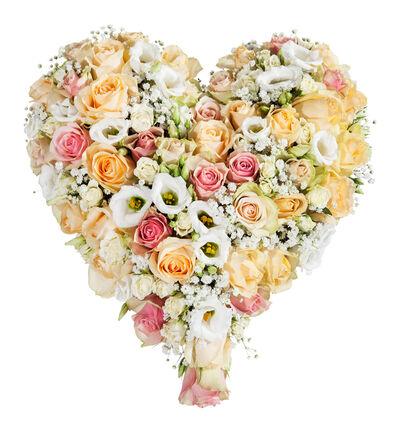 Fylt hjerte i fersken og hvitt S