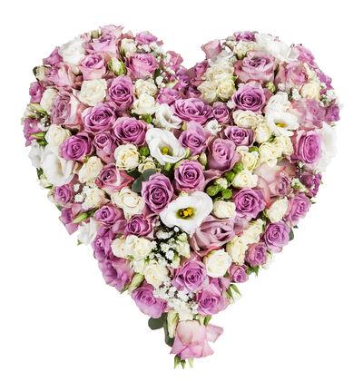 Fylt hjerte i lilla og hvitt S