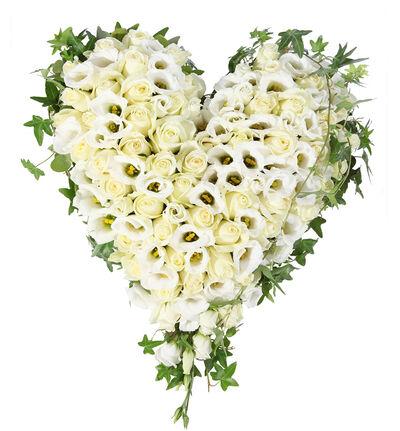 Fylt hjerte i hvitt og grønt M