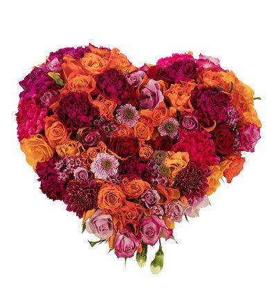 Fylt hjerte i lilla, cerice rosa og oransje S