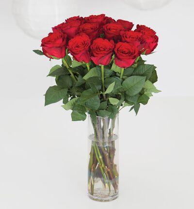 Røde roser i gavepose med bobler og sjokolade