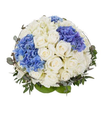 Rund borddekorasjon i hvitt og blått L