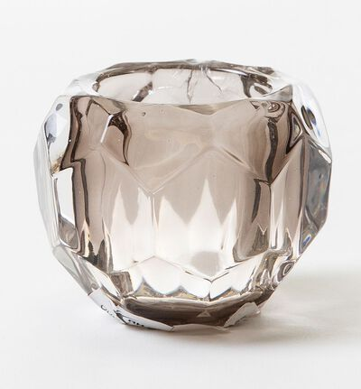 Crystal telysholder gråbrun